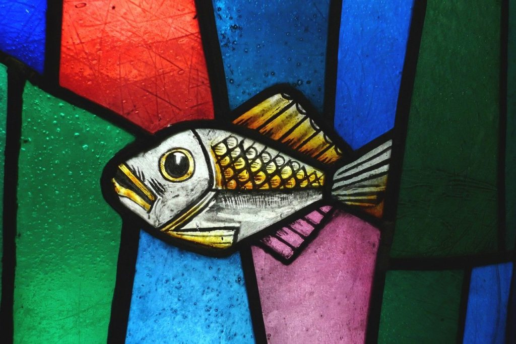stained glass, fish, glass